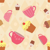 Seamless pattern with decorated cups and cakes — Stock Vector