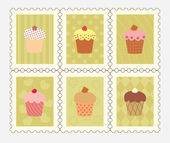 Postage stamps with decorated cupcakes — Stockvector