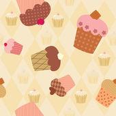Wzór z urządzone cupcakes — Wektor stockowy