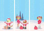 Set of Christmas cards with little girl vertical format — Cтоковый вектор