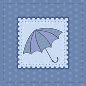 Greeting card with dotted umbrella — Stock Vector