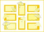 Umbrellas tag collection — Stock Vector