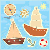 Collection of marine stickers for kids — Stock Vector