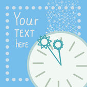 Blue background with snowflakes, round clock and arrows — 图库矢量图片