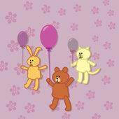 Rabbit, bear and kitty walks with balloons — Stock Vector