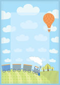 Kid's frame with train and balloon — Stock Vector