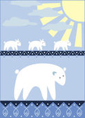 White bears family going for the fishing — Vector de stock