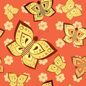 Roze vlinder naadloze patroon — Stockvector