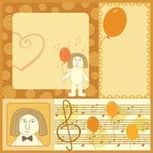 Singing man greeting card — Stock Vector