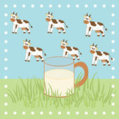 Cow, grass and milk in the glass — Stock Vector