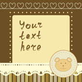 Square frame with little bear — Stock Vector