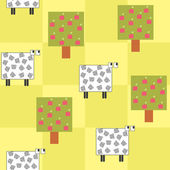 Seamless pattern with a sheep under the tree — Stock Vector