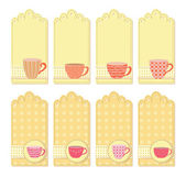 Teacups tags collection — Stock Vector