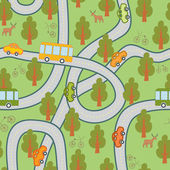 Road in the woods seamless pattern — Stock Vector
