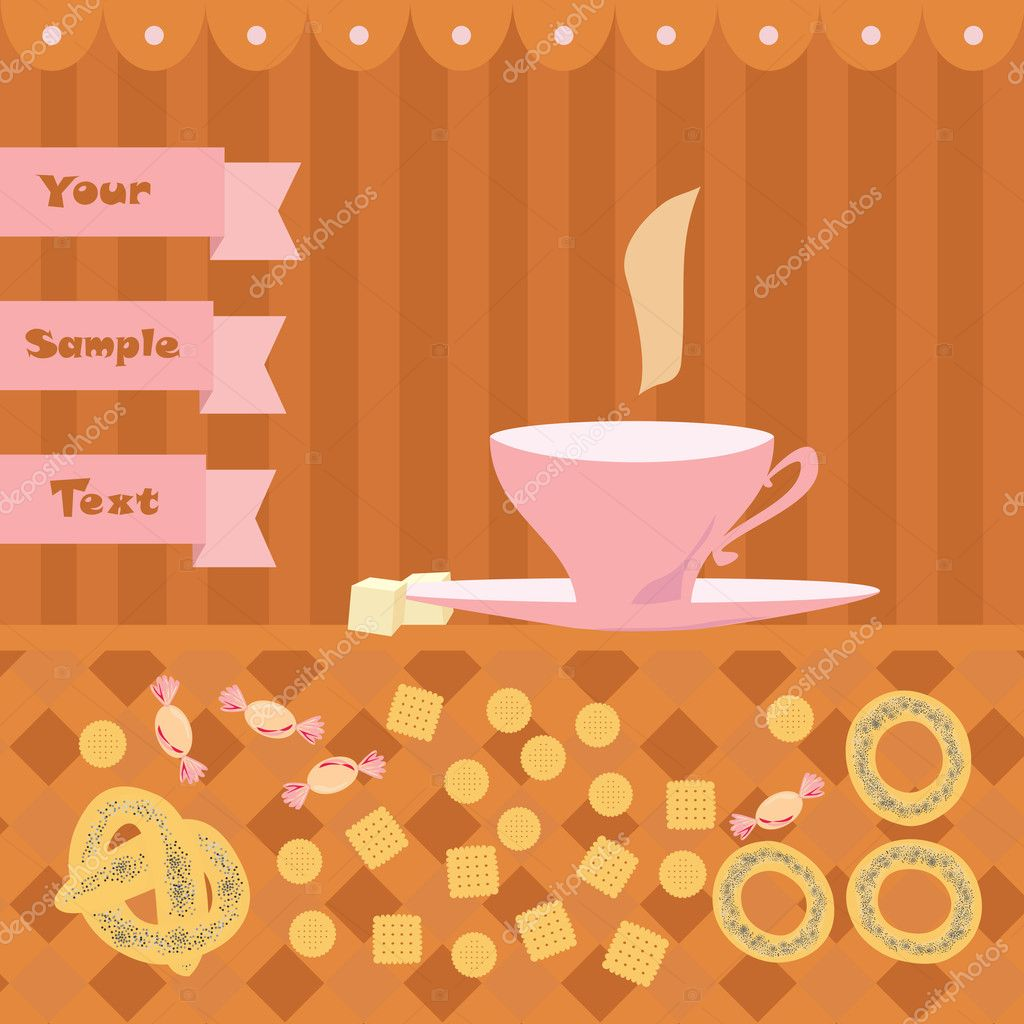 Background with a cup of tea — Stock Vector #10535505