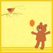 小熊和他的鸟朋友 — 图库矢量图片