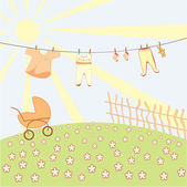 Baby's underwear drying on a rope — Stock Vector