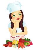 Girl-cook — Stock Vector