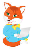 Fox with a laptop — Stock Vector
