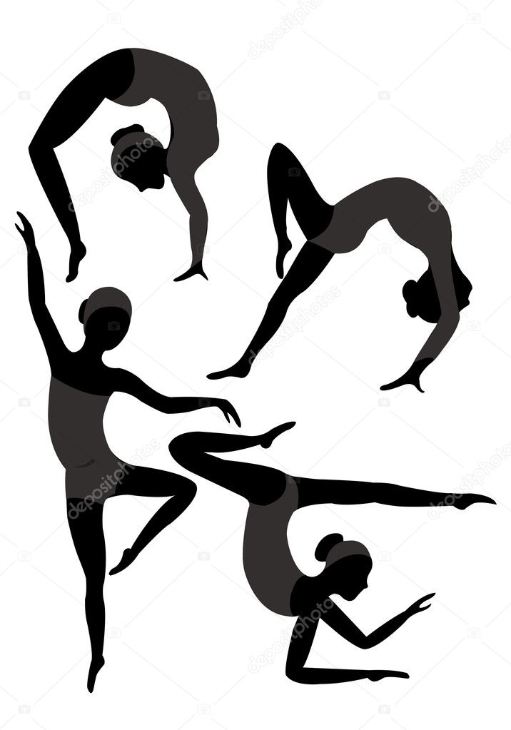 Group of black silhouettes of female gymnasts in the gray leotard — Stock Vector #9854288