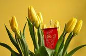 букет тюльпанов в духе пасхи — Стоковое фото