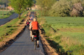 Groups of on the new cycle path — Stock Photo
