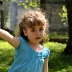 Scared little girl telling gesture - do not go — Stock Photo #10622693