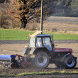 Tractor during the spring field activities — Stock Photo