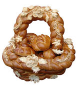 Solated Ukrainian festive bakery Holiday Bread — Stock Photo