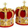 Two Orthodox Wedding Ceremonial Crowns — Stock Photo