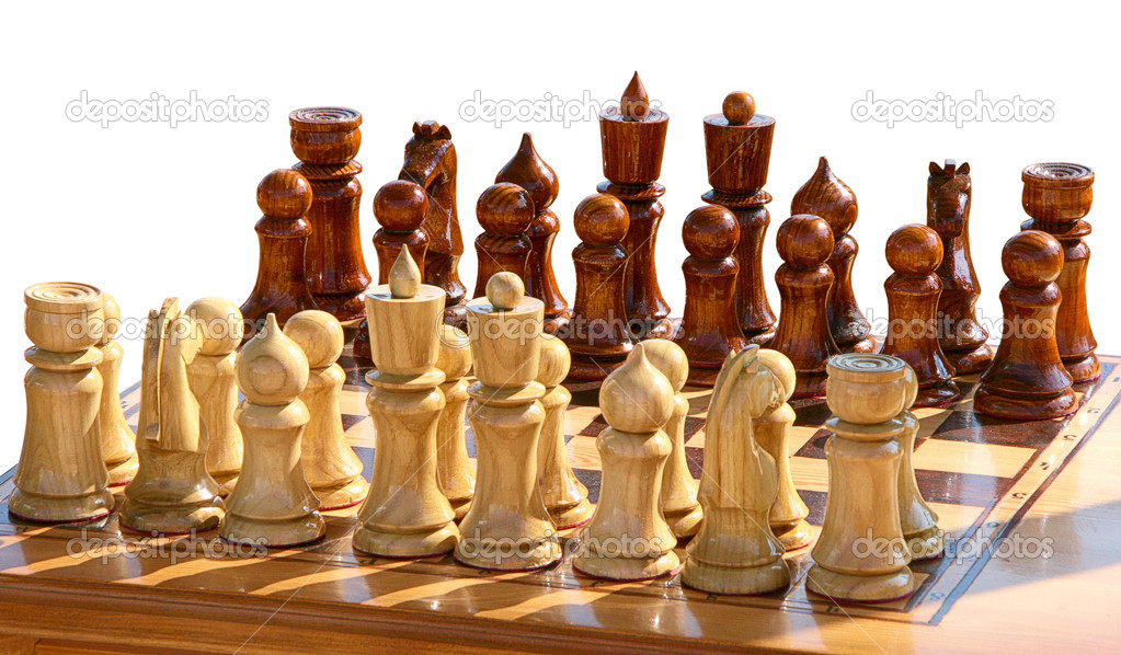 Isolated set of chess figurines on playing board — Stock Photo #9705505