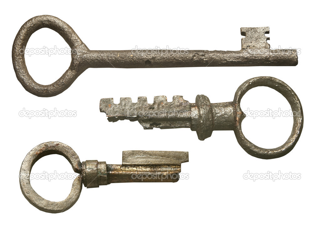 Isolated set of ancient metall keys — Stock Photo #9705507