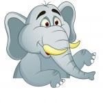 Elephant cartoon with blank sign — Stock Vector #10349841