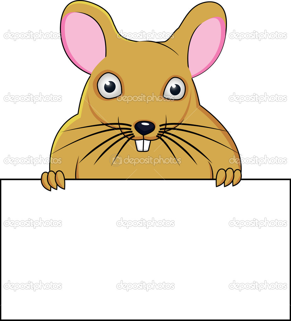 Vector Illustration Of Rat With Blank Sign — Stock Vector #10349988