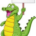 Crocodile cartoon with blank sign — Stock Vector