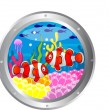 Royalty-Free Stock Vector Image: Clown fish cartoon with porthole frame