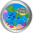 Turtle cartoon with porthole frame — Stock Vector