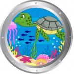 Turtle cartoon with porthole frame — Stock Vector