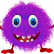 Stock Vector: Hairy purple cartoon