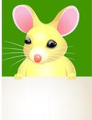 Kreslená myš drží prázdný znak. — Stock vektor