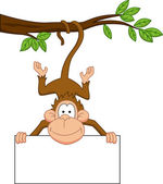 Monkey with blank sign — Stock Vector