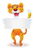Cheetah cartoon with blank sign — Stock Vector