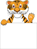 Tiger C artoon With Blank Sign — Stock Vector
