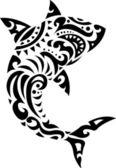 Shark tribal tattoo — Stock Vector