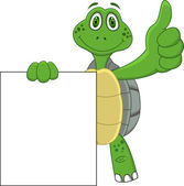 Funy Turtle With Blank Sign — Stock Vector