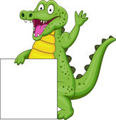 Crocodile cartoon with blank sign — Stock Vector