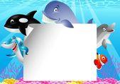 Sea life cartoon With Blank Sign — Stock Vector