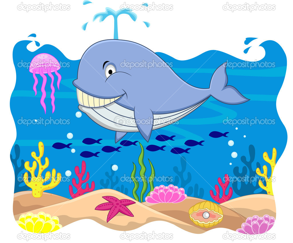 Dibujos animados de ballena — vector stock