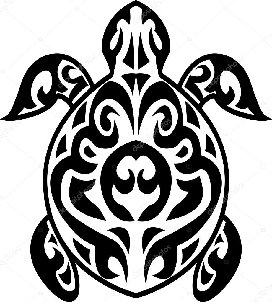 Vector Illustration Of Turtle tribal tattoo   Stock Vector #10356012