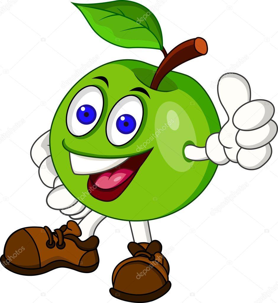 A Cartoon Character That Is Green : Groene appel stripfiguur — stockvector idesign